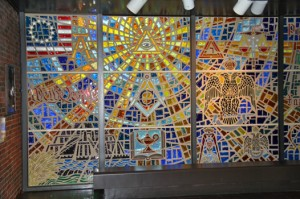 Stained glass window at Scottish Rite Museum